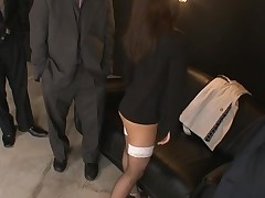 Raunchy cutie in black dress stands on knees and sucks penis